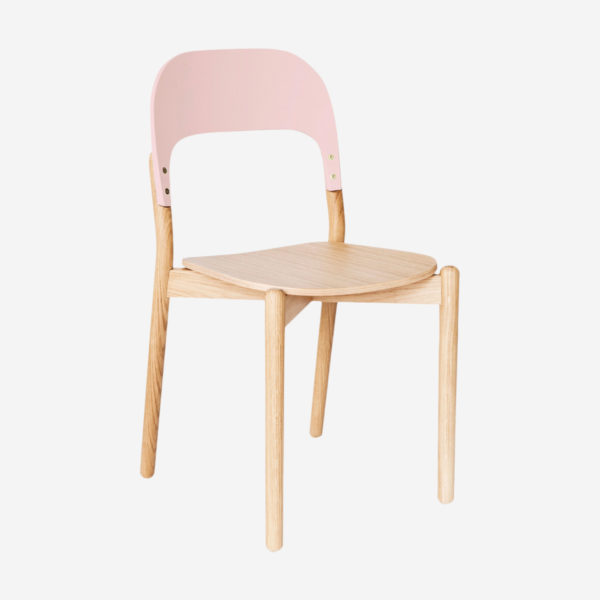 Chair Paula, natural oak and pink