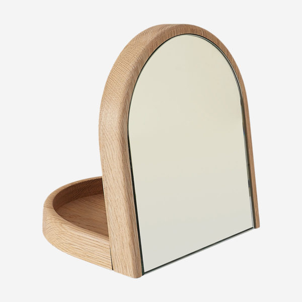 Table mirror Armand with tray, natural oak